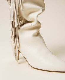 Leather high boots with fringes White Snow Woman 212TCP10G-04