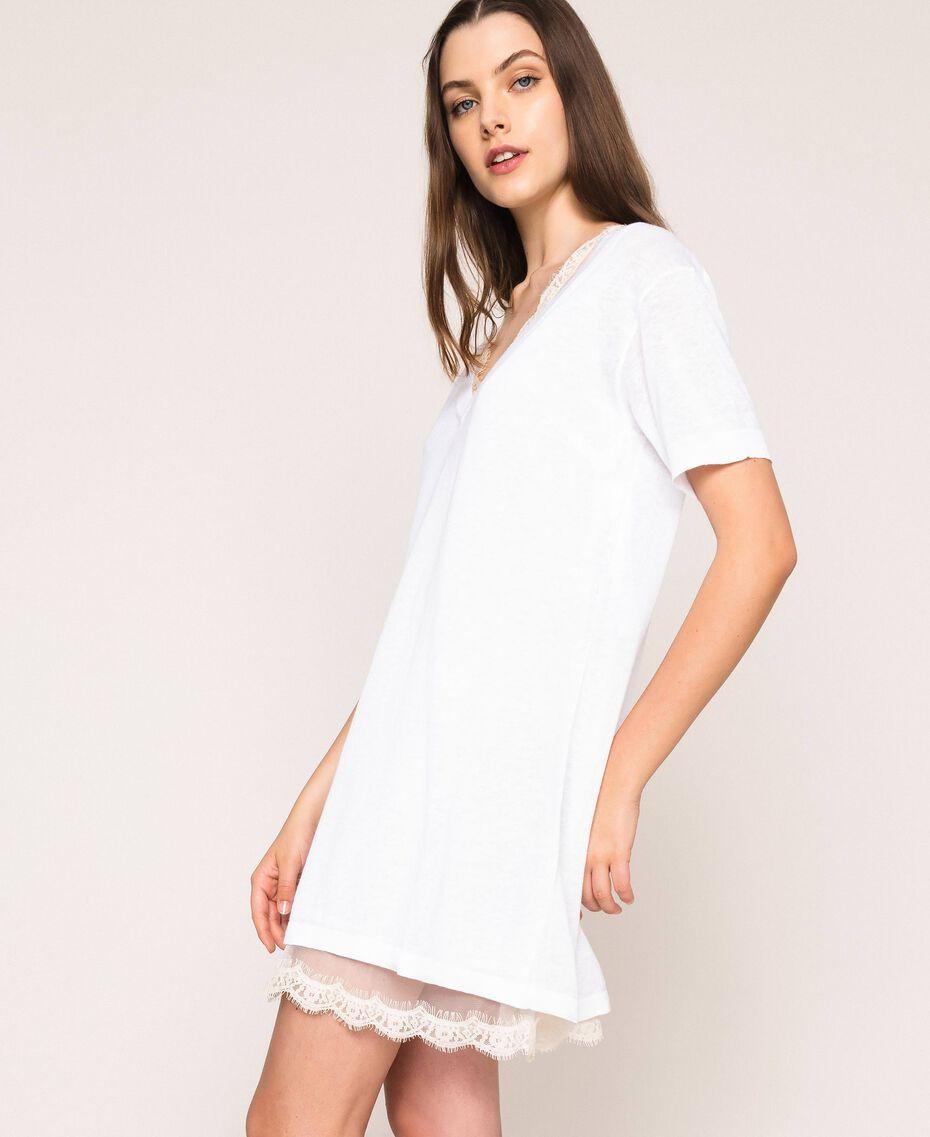 Mini-robe en lin mélangé avec fond de robe Noir Femme 201MT3021-03