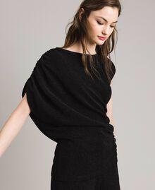 Top en lurex avec drapés et cordon coulissant Noir Femme 191MP2024-02