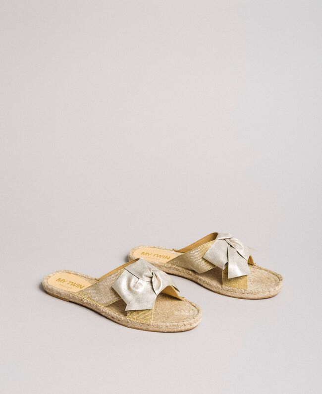 Criss-crossed slippers with bow Gold Yellow Woman 191MCP150-01