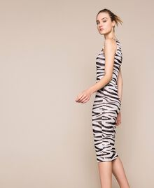 Animal print tulle sheath dress Zebra Print Woman 201TQ201D-02