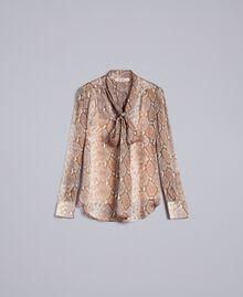 Camicia in chiffon di seta animalier Stampa Camel Snake Donna PA829D-0S