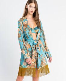 """Vestaglia in twill stampata a fiori Stampa Azzurro """"Blue Melancholia"""" Fiore Donna LA8KRR-0S"""