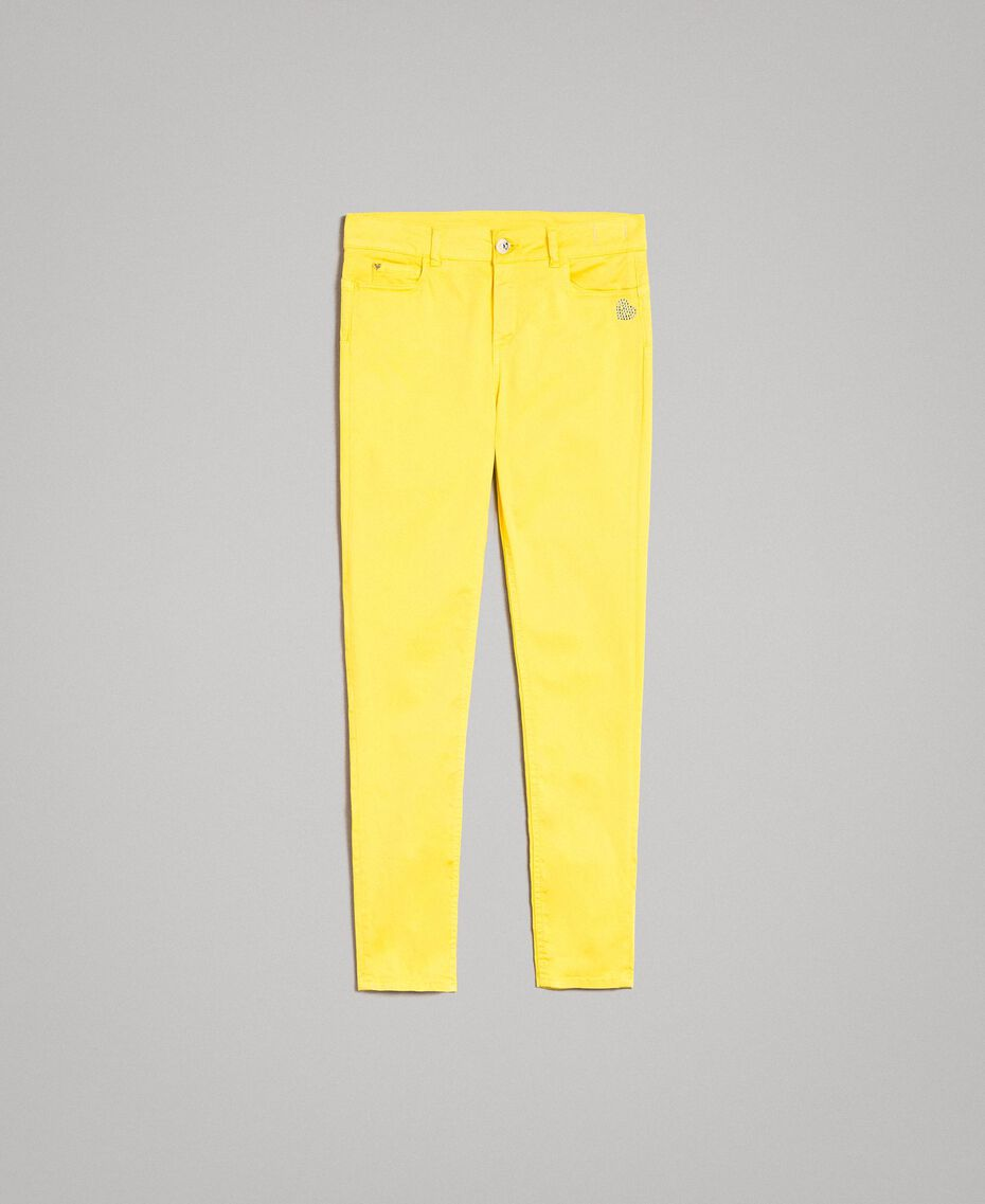 Skinny trousers with rhinestone heart Fluorescent Yellow Woman 191MT2446-0S