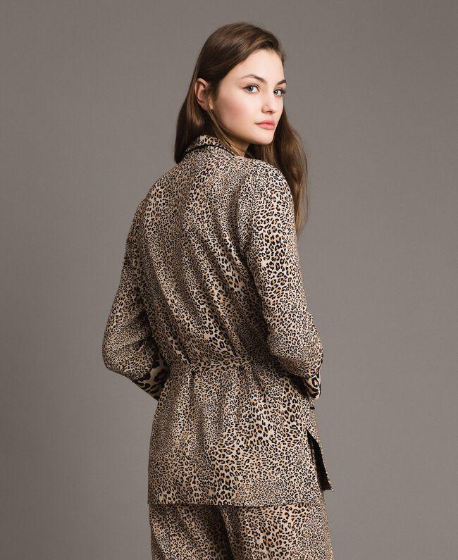 Animal print crêpe jacket Mixed Animal Print Woman 191TP2700-03