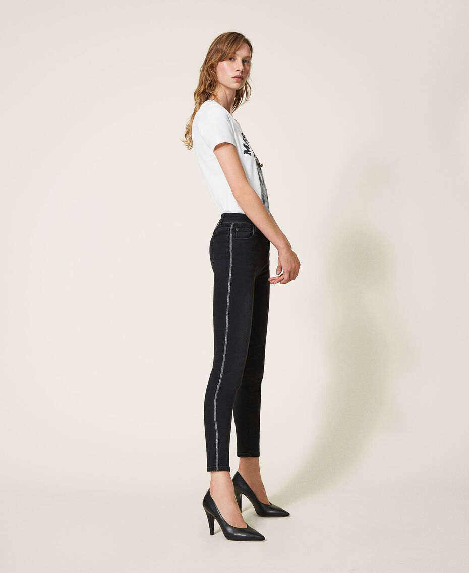 Push up jeans with chain and rhinestones Black Denim Woman 202MP2420-01
