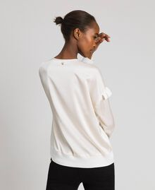 Boxy jumper with asymmetric flounce Vanilla White Woman 192MP3193-03