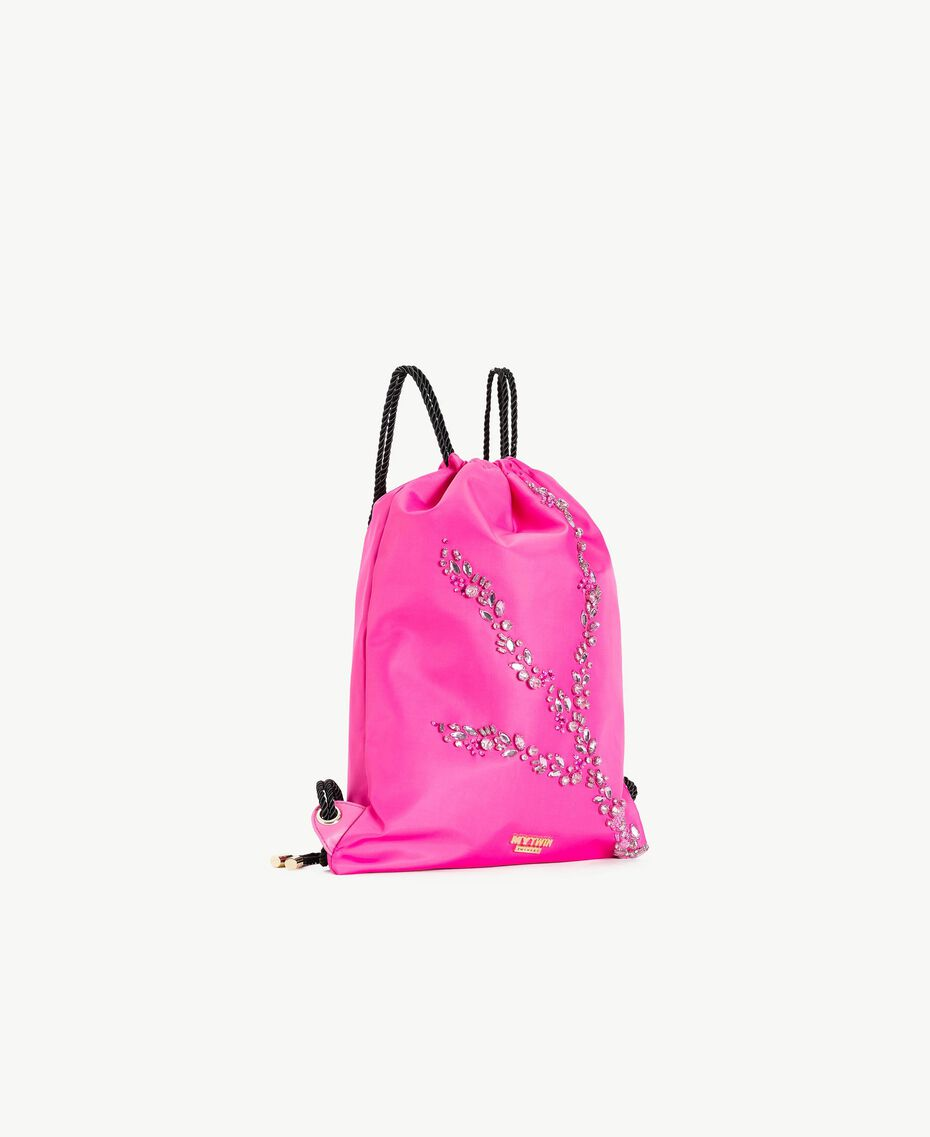 TWINSET Rhinestone backpack Silk Fuchsia Stone Embroidery Woman RS8TGD-02