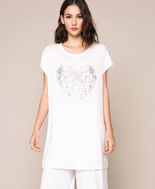 Длинная футболка с разноцветными стразами Слоновая кость женщина 201LB2ADD-02