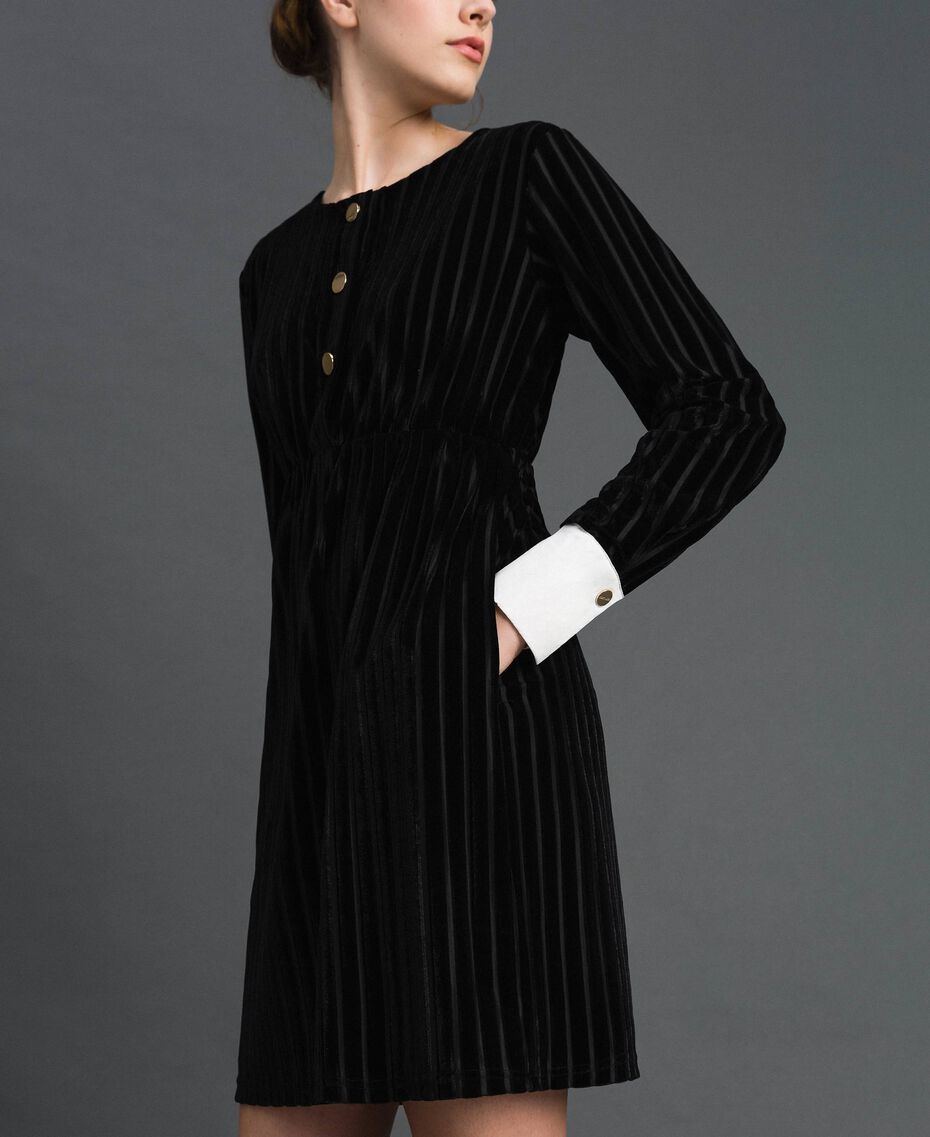 Robe en velours dévoré effet rayé Noir Femme 192MP2250-02