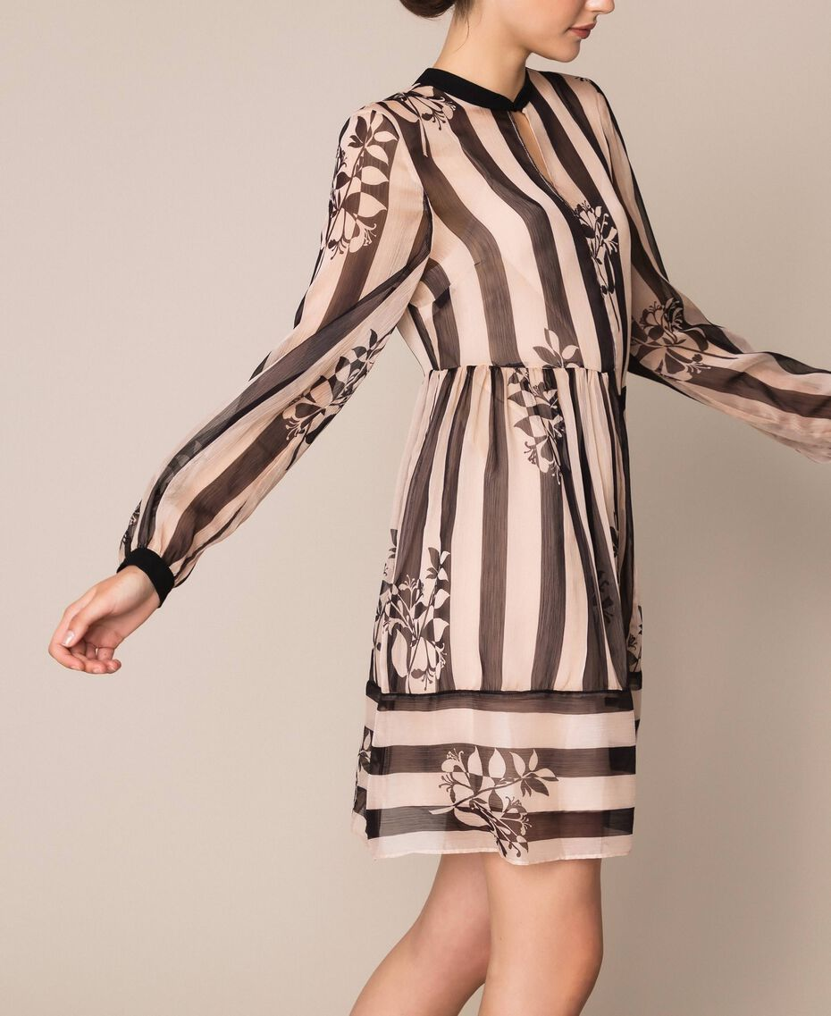 Creponne dress with stripes and flower print Floral Print over Snow/ Black Stripes Woman 201TP2301-02