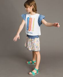 Jersey T-shirt and chambray details White Child 191GJ2650-02