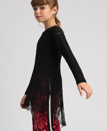 Maxi T-shirt with georgette and lace details Black Child 192GJ2468-02