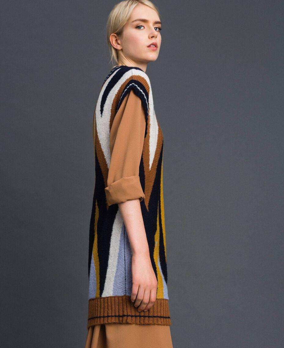 Maxi pull multicolore en laine et mohair Chevrons Bleu Nuit Femme 192ST3111-02