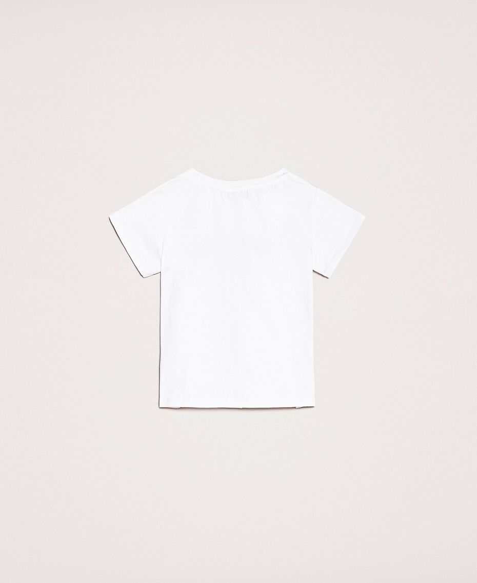 """T-shirt with embroidered logo Black Twinset Milano Embroidery / """"Papers"""" White Child 201GB2373-0S"""