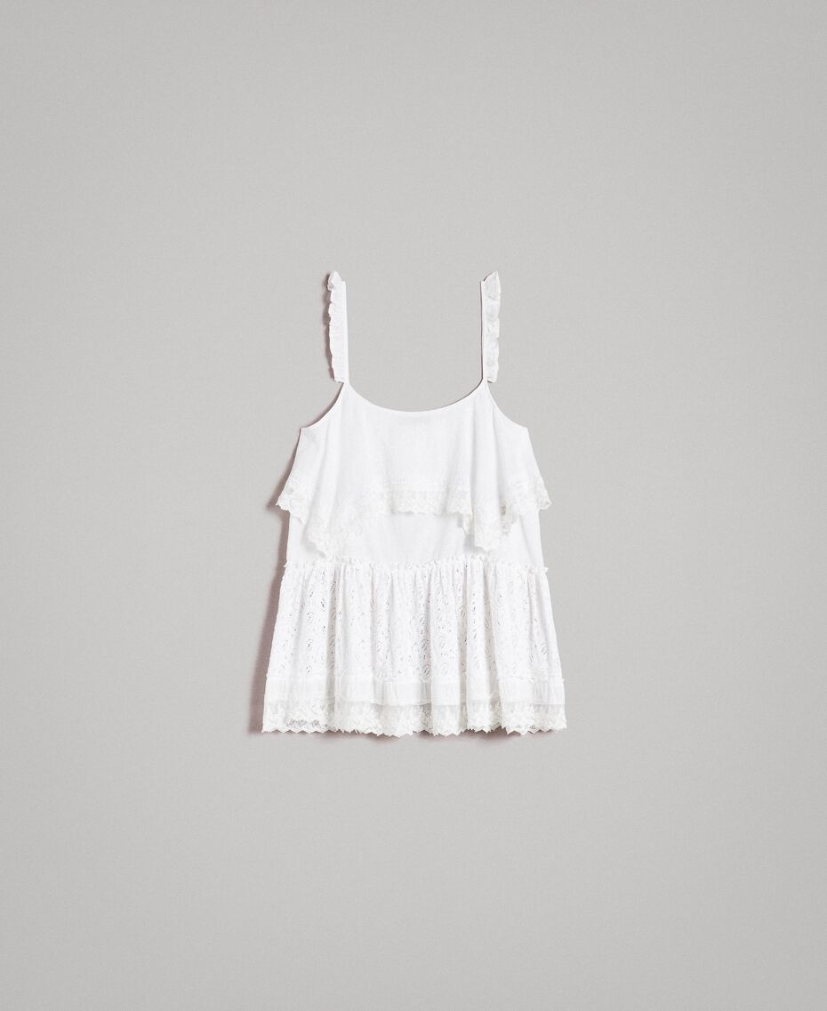 Embroidery and lace top Off White Woman 191MT2271-0S