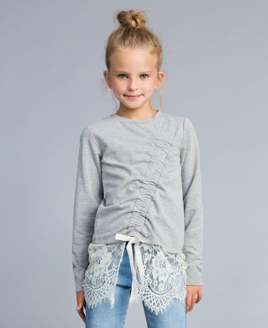 Felpa in cotone stretch con drappeggio Bicolor Grigio Chiaro Melange / Off White Bambina GA82GB-0S