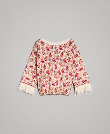 "Floral cardigan-top with feathers and rhinestones ""Blossom"" Pink Bouquet Print Woman 191TP3415-0S"