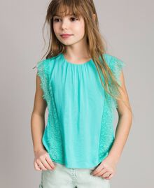 "Blouse in flowing fabric with lace ""Island Paradise"" Light Blue Child 191GJ2432-0S"