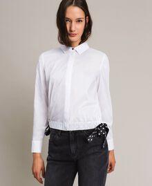 Poplin shirt with drawstring White Cream Woman 191MP2190-02