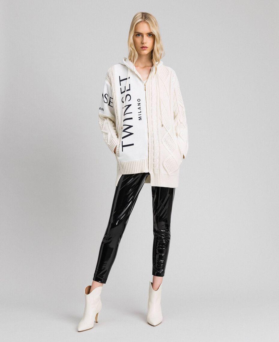 Maxi cardigan torsadé avec insertions et logo Blanc Neige Femme 192TT3061-01