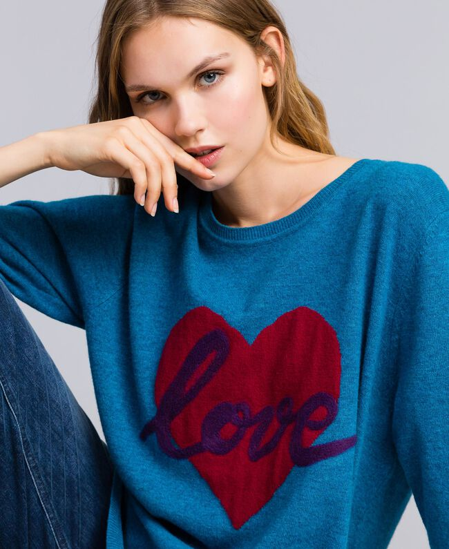 Wool blend maxi jumper with heart Octane Blue Needle Punch Embroidery Woman TA83JF-01