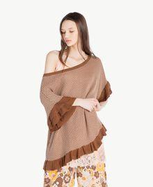 "Mesh poncho Two-tone ""Toffee"" Brown / ""Amphora"" Brown Woman SS83CQ-03"