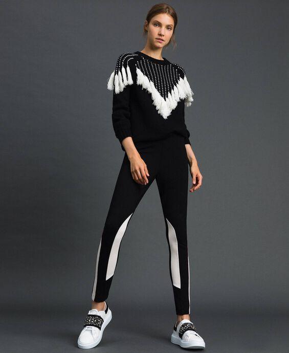 Maxi jumper with jacquard yoke and fringes