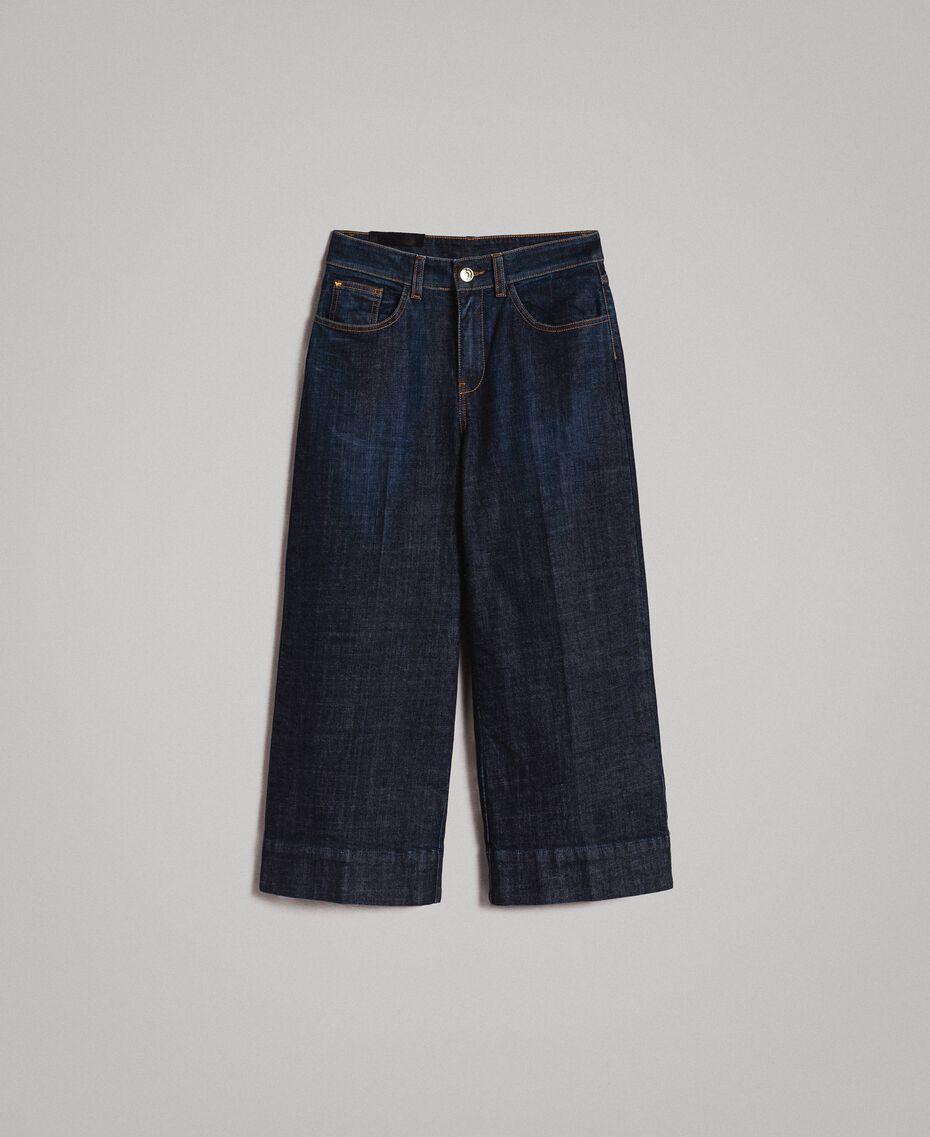 Weite Dreiviertel-Jeans Denimblau Frau 191MP2470-0S
