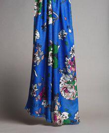 Lurex-Viskose-Schal mit Blumenmuster Motiv Windblumen Kornblumenblau Frau 191TA4368-02