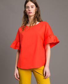 Poplin flounce blouse White Woman 191TT224D-01