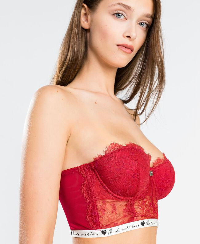 """Lace bustier with contrast elastic band """"Reddish"""" Red Woman LA8F33-04"""