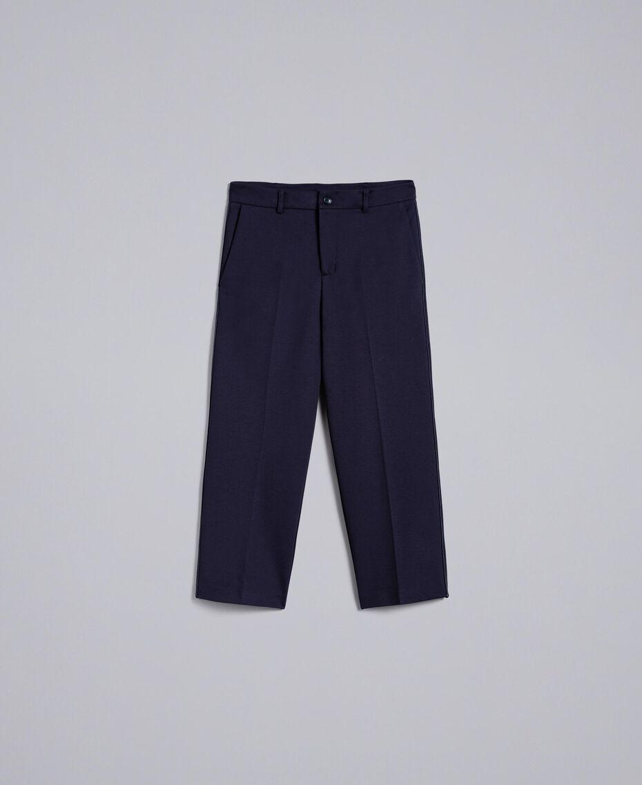 Pantalon en point de Milan Bleu Nuit Femme TA822F-0S