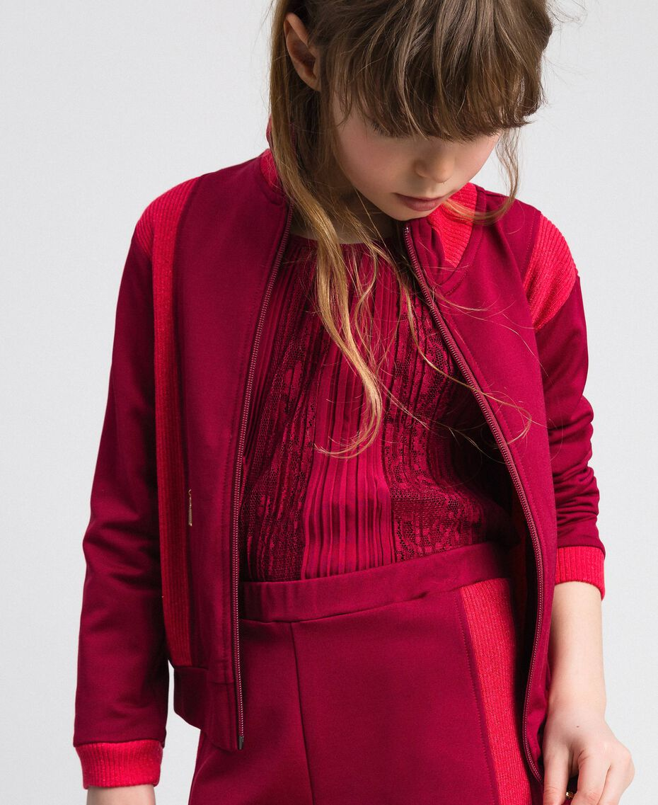 "Colour block sweatshirt with zip and jogging trousers Ruby Wine / ""Candy"" Fuchsia Child 192GJ2240-06"