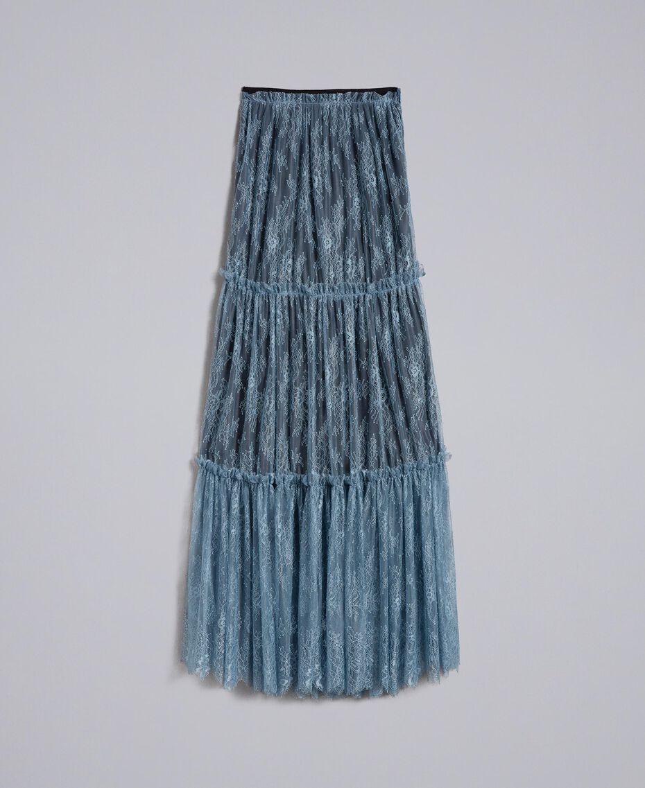 Jupe longue en dentelle de Valenciennes Bleue poudre Femme PA82FZ-0S
