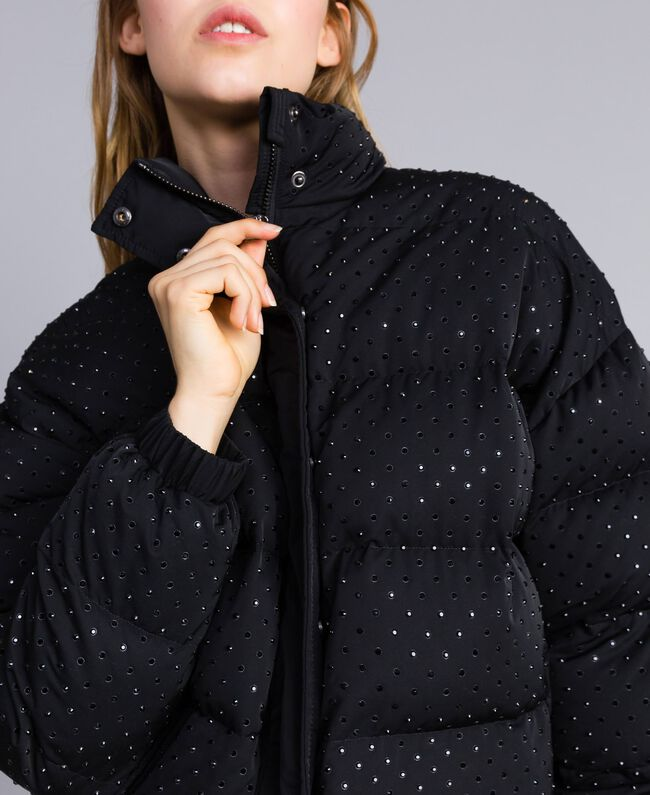 Short padded jacket with rhinestones Black Woman TA82CN-04
