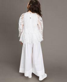 Popeline-Jumpsuit und Organza-Bluse Weiß Kind 191GJ2QB0-03