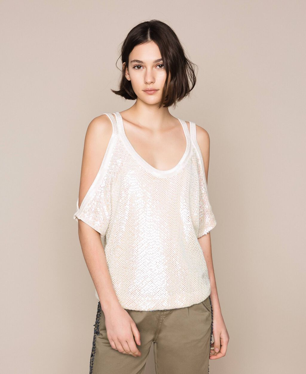 Mesh stitch jumper with sequins