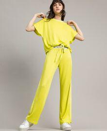 """Pantalon avec bandes latérales Jaune """"Jus De Citron"""" Femme 191LL23KK-02"""