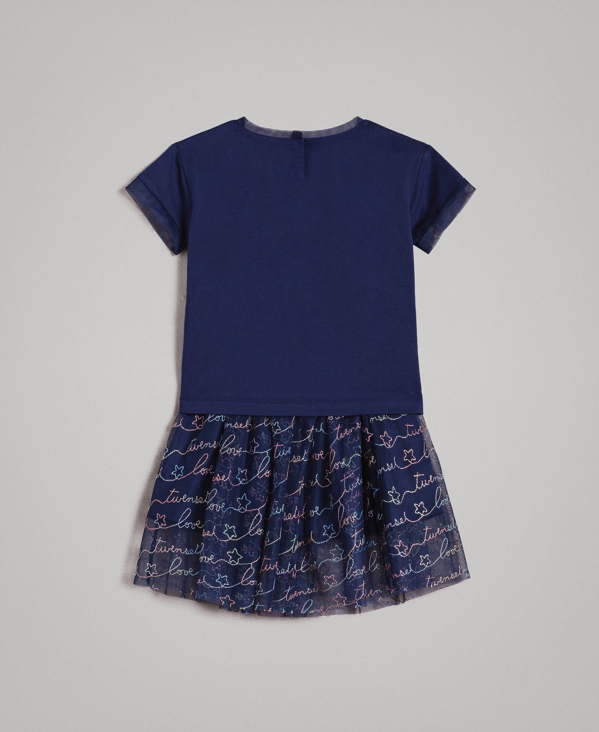 pretty nice 8db96 31409 Jersey T-shirt and tulle skirt with embroidery Child, Blue | TWINSET Milano