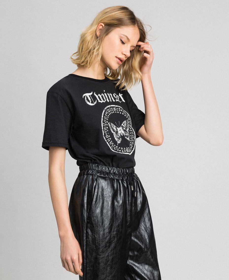 T-shirt avec imprimé papillon et logo Noir Femme 192TP2712-02