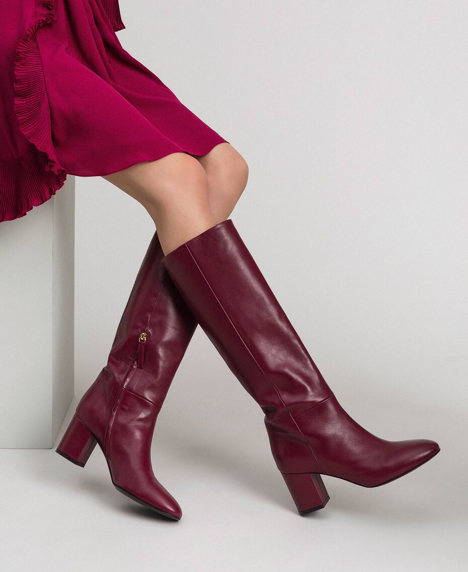 Leather high boots Beet Red Woman 192TCP100-0S