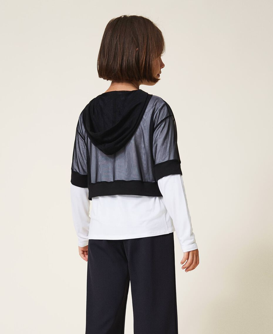 Long sleeve T-shirt and tulle top Bicolour Off White / Black Child 202GJ2730-03