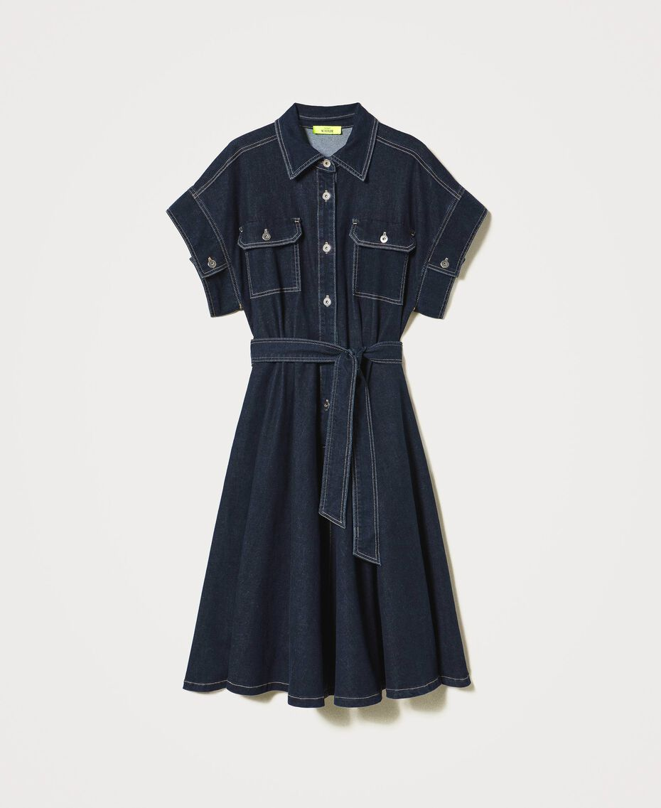 "'Antares"" denim shirt dress Dark Denim Woman 211MT211C-0S"