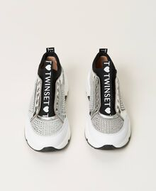 """Leather trainers with rhinestones Two-tone """"Off White"""" / Silver Child 211GCJ020-05"""