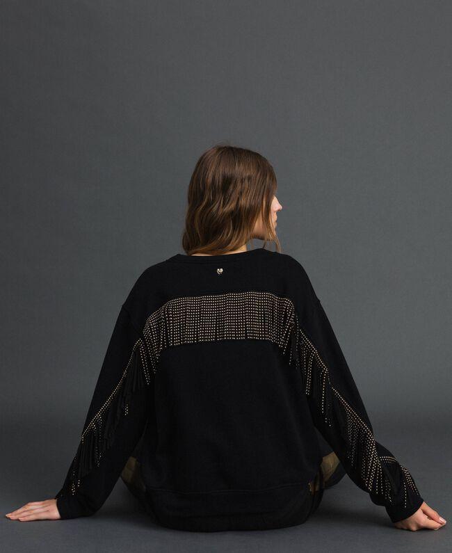 Boxy sweatshirt with fringes Black Woman 192MP2230-04