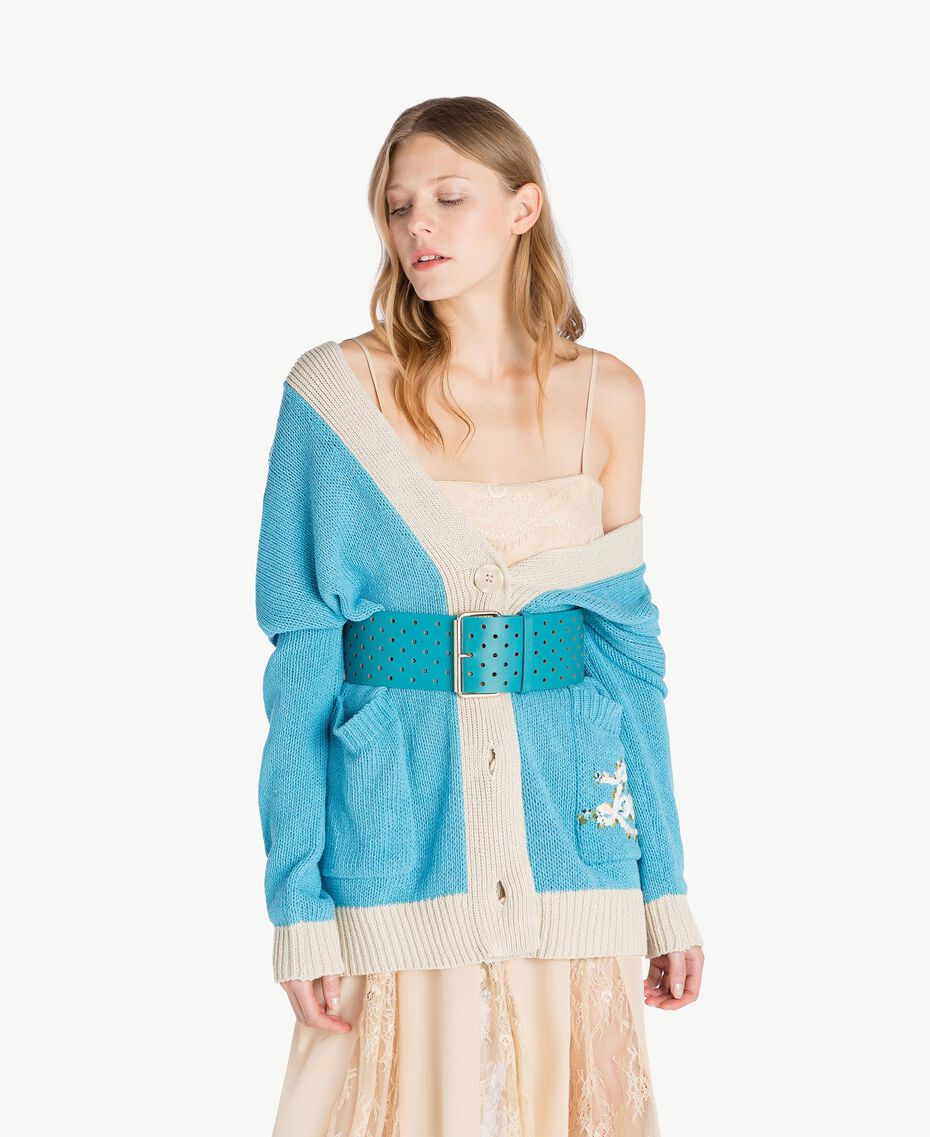 Cardigan over Blu D'Oriente Donna PS83L2-01