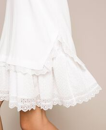 Knitted dress with broderie anglaise flounce White Snow Woman 201TP3041-04
