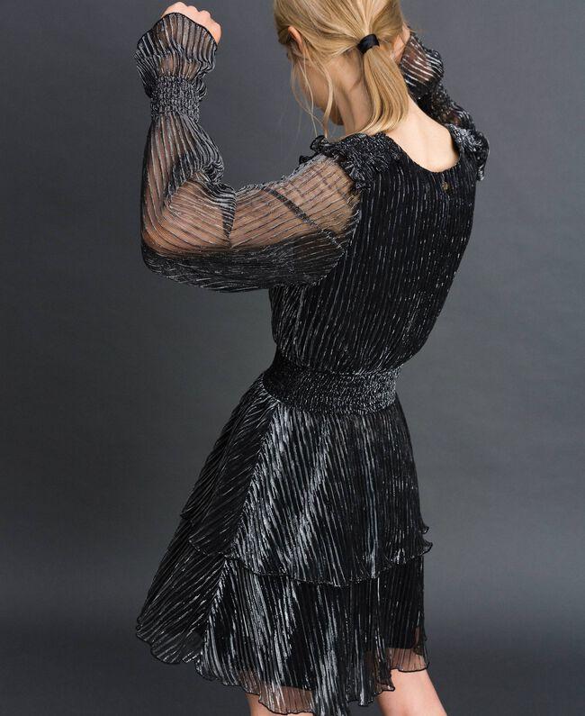 Robe en tulle crépon métallique Noir / Argent Femme 192MT2140-03