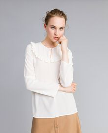 Silk blouse with micro ruches White Snow Woman PA82EJ-02